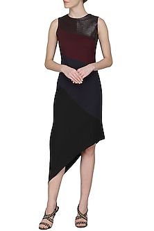 Maroon and Navy Blue Diagonal Dress by Sameer Madan