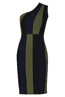 Black and Olive One Shoulder Dress by Sameer Madan
