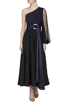 Black Pleated Jumpsuit by Sameer Madan
