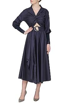 Navy Blue Ribbed Sleeves Midi Dress by Sameer Madan