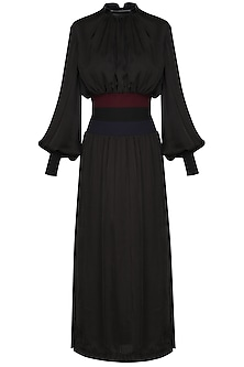 Black High Neck Maxi Dress by Sameer Madan