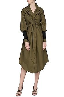 Olive Shirt Dress by Sameer Madan