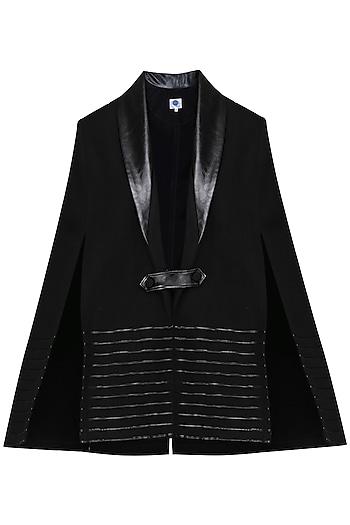 Black Leather Cape Jacket by Sameer Madan