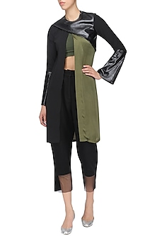 Black and Olive Green Overlay Jacket by Sameer Madan