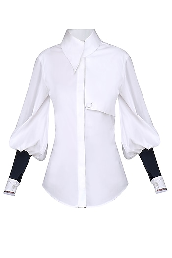 White Buttoned Trench Shirt by Sameer Madan