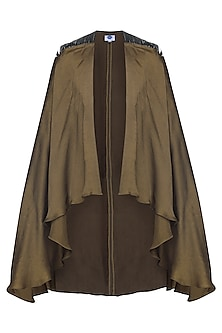 Olive Green Asymmetrical Cape by Sameer Madan