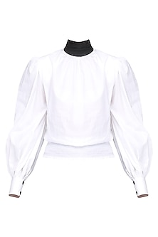 White High Neck Shirt by Sameer Madan