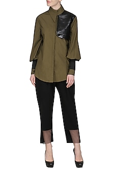 Olive Green Shirt by Sameer Madan