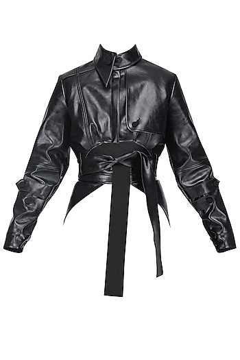 Black Crop Leather Jacket by Sameer Madan