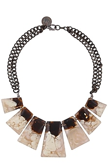 Antique White And Brown Gawa Diadem Necklace by Sameer Madan