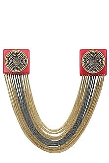 Cherry Gawa Square Chains Brooch/Collar Tips by Sameer Madan