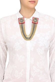 Cherry Gawa Square Chains Brooch/Collar Tips by Sameer Madan