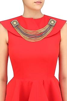 Black Gawa Square Chains Brooch/Collar Tips by Sameer Madan