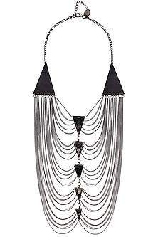 Black Gawa Triangular Beads Swing Necklace by Sameer Madan