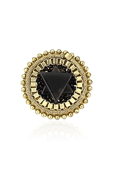 Gold Finish Black Gawa Star Shaped Occult Ring by Sameer Madan