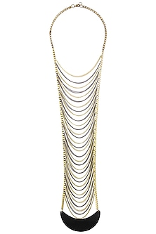 Gold and Rhodium Finish Multi Chain Ladder Necklace by Sameer Madan