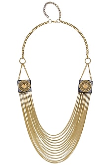 Gold Finish Black Gawa Square Embellished Bead Midieval Fantasy Necklace by Sameer Madan