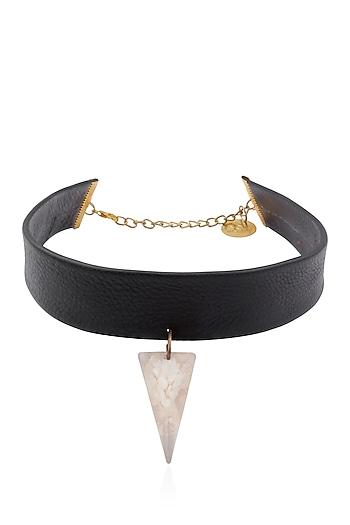 Black Pearl Gawa Triangle Pendant Choker by Sameer Madan