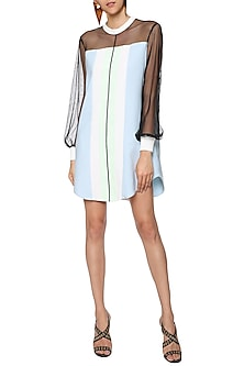 Ice Blue and Mint Green T-Shirt Dress by Sameer Madan