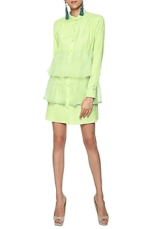 Mint Green Oversized Ruffle Shirt Dress by Sameer Madan