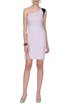 Lavender One Shoulder Bodycon Dress by Sameer Madan