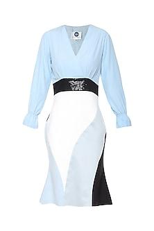 Ice Blue Seamwork Bodycon Dress by Sameer Madan