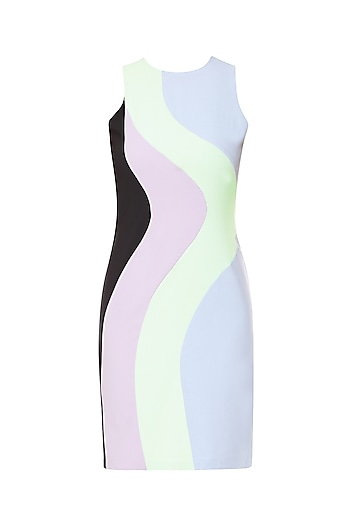Multi-Colour Knee Length Bodycon Dress by Sameer Madan