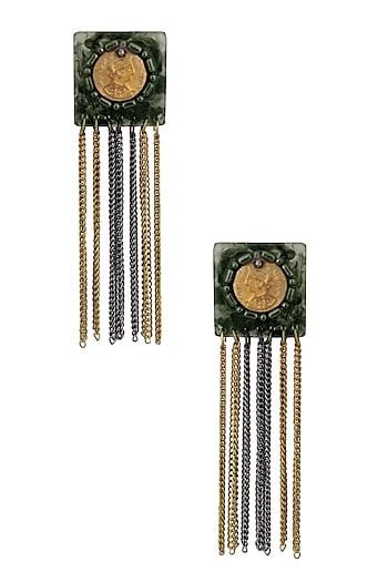 Black Gawa Coin Embellished Small Square Earrings by Sameer Madan