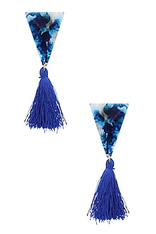 Blue Gawa Triangle Tassle Earrings by Sameer Madan