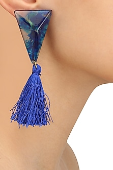 Blue Gawa Triangle Tassle Earrings by Sameer Madan