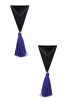 Black Gawa Triangle and Blue Tassle Earrings by Sameer Madan