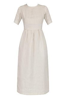 Beige Striped Monaco Shift Dress by Sameer Madan