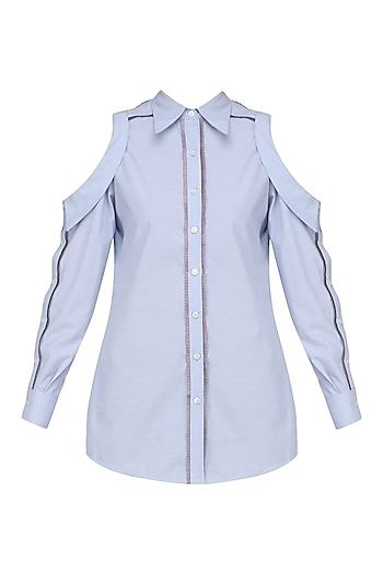 Blue Cold Shoulder Full Sleeves Ruffled Shirt by Sameer Madan