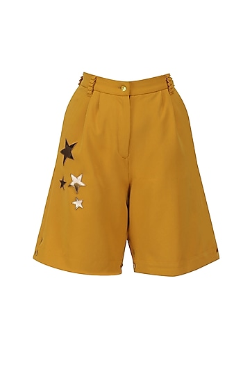 Harvest Gold Metallic Stars Shorts by Sameer Madan