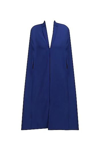 Space Cadet Blue and Turquoise Dual Side Lazy Cape by Sameer Madan