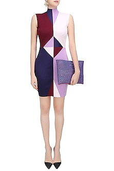 Maroon, Thistle, Champagne Pink and Space Cadet Blue Diamond Bodycon Dress by Sameer Madan