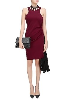Maroon and Black Flowy Back High Neck Bodycon Dress by Sameer Madan
