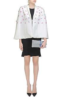 Off White Metallic Floral Sequins Embroidered Shower Cape by Sameer Madan