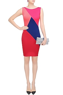 Barbie Pink, Congo Pink, Ultramarine Blue and Imperial Red Parallelogram Bodycon Dress by Sameer Madan