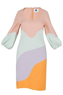 Multi-Coloured Abstract Knee Length Dress by Sameer Madan