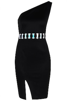 Black One Shoulder Bodycon Dress with Leatherite Belt by Sameer Madan
