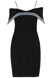 Black Off Shoulder Leatherite Embroidered Knee Length Dress by Sameer Madan