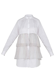 Vanilla Front Open Ruffle Shirt Dress by Sameer Madan