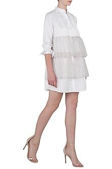 Vanilla Front Open Ruffle Shirt Dress by Sameer Madan