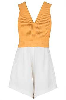 White and Orange Colour Block Pleated Playsuit by Sameer Madan