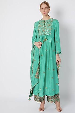 Turquoise Embroidered & Printed Kurta Set by Debyani