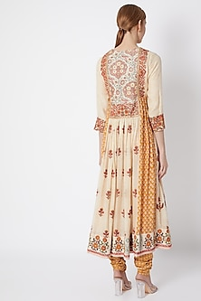 Nude Embroidered & Printed Gathered Kurta Set by Debyani