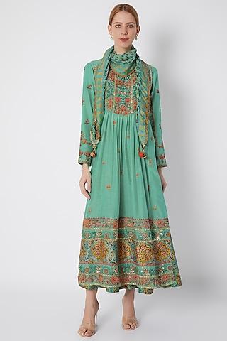 Turquoise Embroidered & Printed Gathered Kurta Set by Debyani