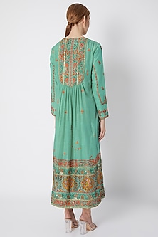 Turquoise Embroidered & Printed Gathered Kurta Set by Debyani