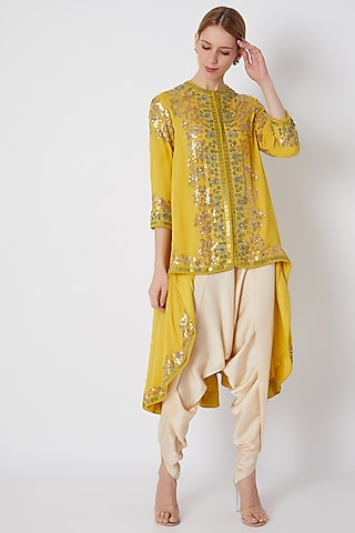 Yellow Embroidered & Printed Jacket With Pants by Debyani